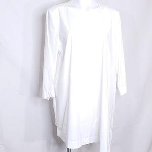 J.Jill White Tunic Shirt With Asymmetrical Hem LT
